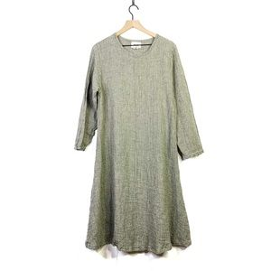 Flax Linen Thermal Long Sleeve Midi Dress Large